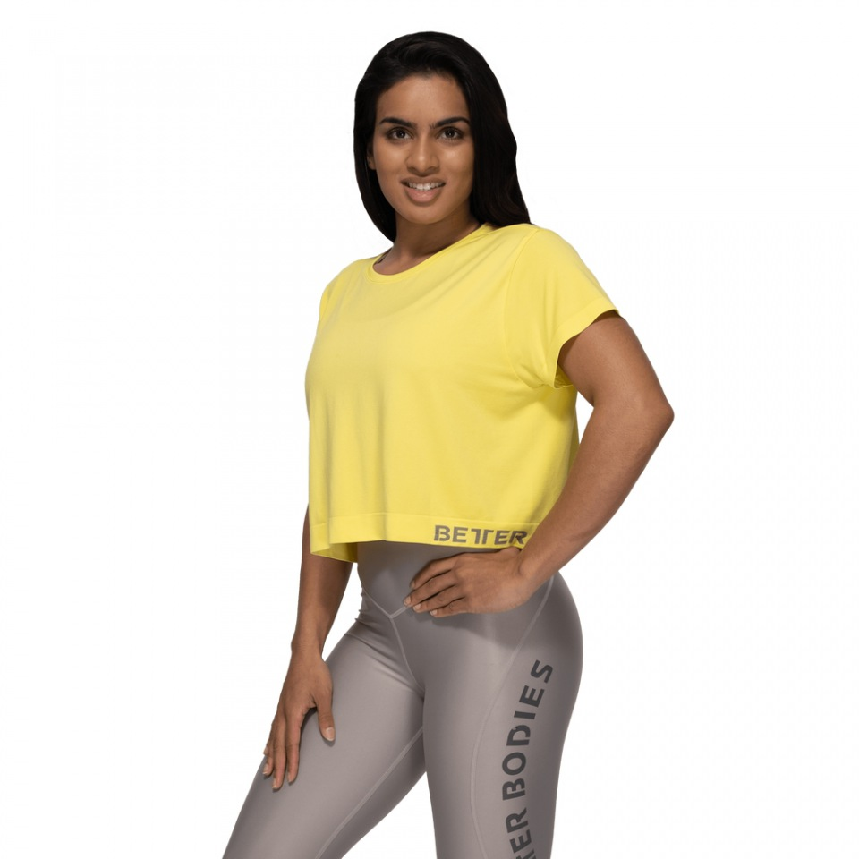 Укороченная футболка Better Bodies Rockaway Seamless Tee, Lemon Yellow