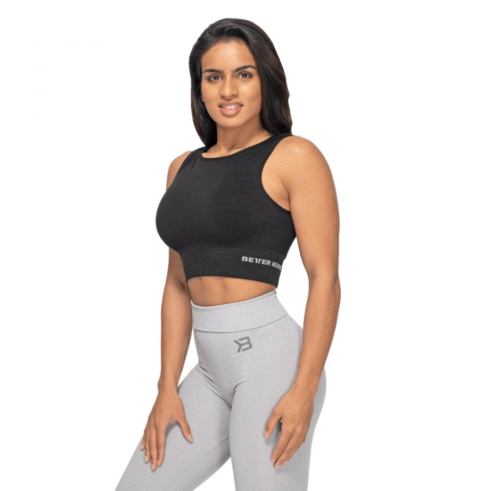 Спортивный топ Better Bodies Rib Seamless Top, Black Melange