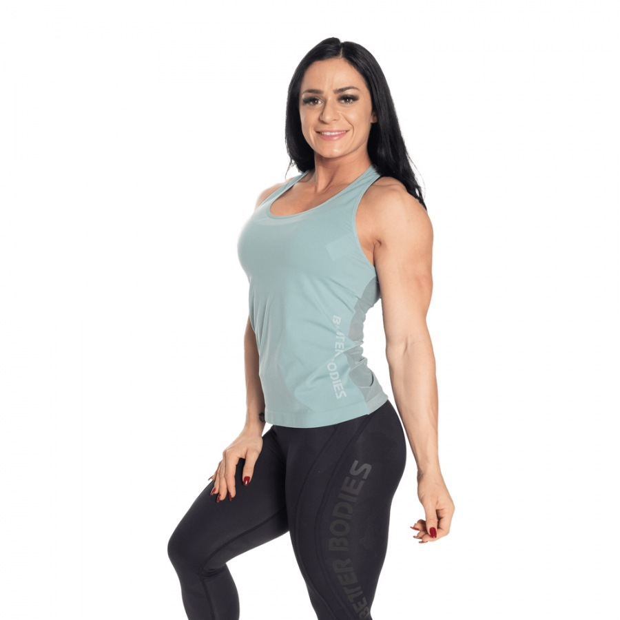 Спортивная майка Better Bodies Seamless Mesh Tank, Teal Green