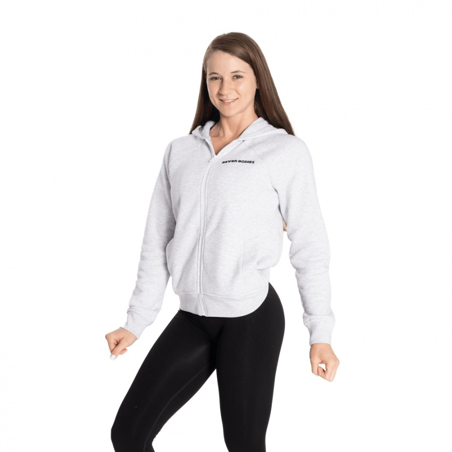 Толстовка Better Bodies Core Zip Hoodie, White melange