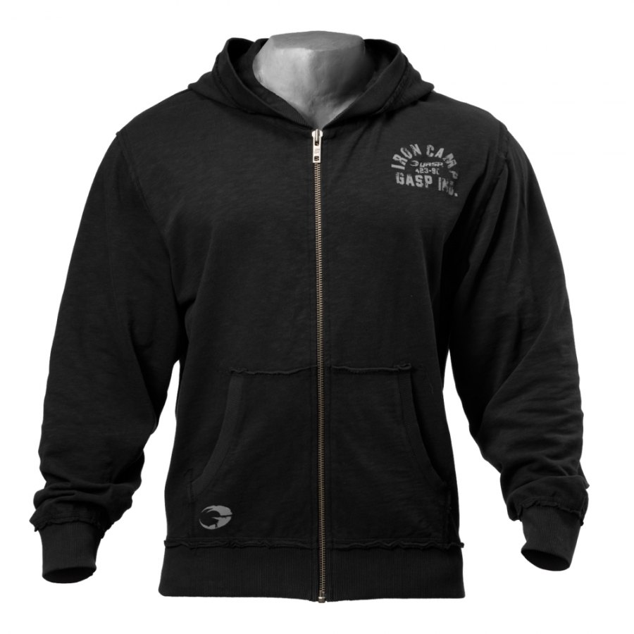 Толстовка GASP Throwback Zip Hoodie, Wash Black